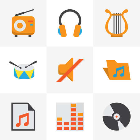 Multimedia Flat Icons Set. Collection Of Quiet, Controlling, Media And Other Elements. Also Includes Symbols Such As Disk, Portfolio, Headphone. Illustration