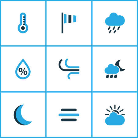 windsock: Meteorology Colored Icons Set. Collection Of Humidity, Night, Rainstorm And Other Elements. Also Includes Symbols Such As Drop, Humidity, Sun.