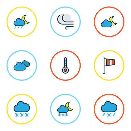 scale icon: Nature Colored Outlines Set. Collection Of Tornado, Overcast Weather, Scale And Other Elements. Also Includes Symbols Such As Scale, Breeze, Degree.