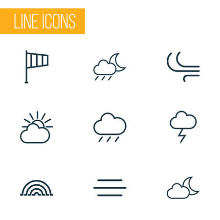 humidity: Weather Outlines Set. Collection Of Stormy, Cloud Sky, Breeze And Other Elements. Also Includes Symbols Such As Rainbow, Moon, Breeze.