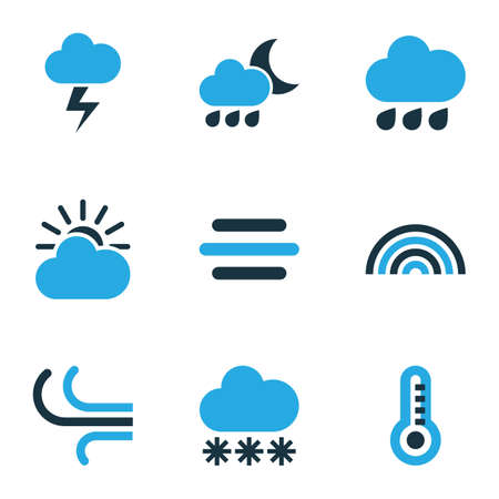 Nature Colored Icons Set. Collection Of Rainfall, Snowfall, Overcast And Other Elements. Also Includes Symbols Such As Bolt, Cloudy, Thermometer.