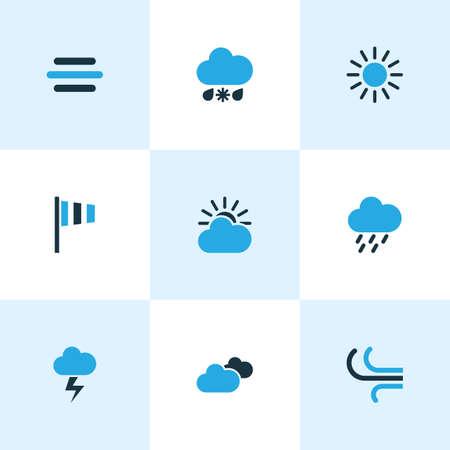 Conjunto de iconos de colores del tiempo. Colección de nublado, clima frío, tormenta de lluvia y otros elementos. También incluye símbolos como velocidad, llovizna, tormenta.