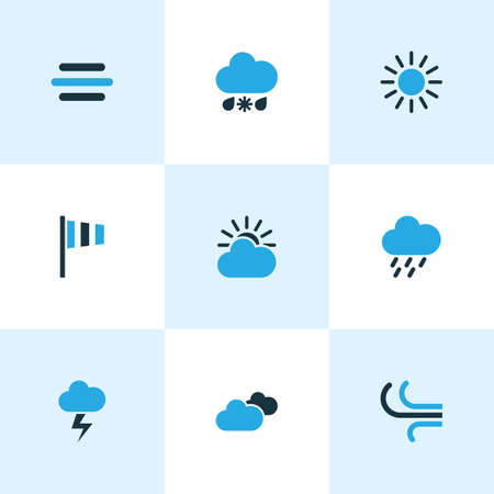 Weather Colored Icons Set. Collection Of Overcast, Cold Weather, Rainstorm And Other Elements. Also Includes Symbols Such As Speed, Drizzle, Storm.