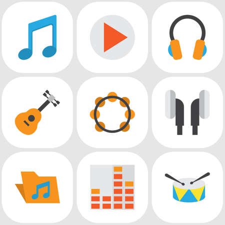 オーディオ フラット アイコンを設定します。イヤホン、制御、ボタンおよび他の要素のコレクションです。またボタン、ギター、アーカイブなどの