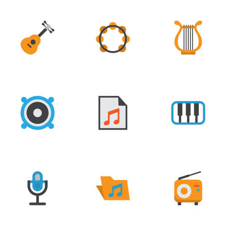 Audio Flat Icons Set. Collection Of Loudspeaker, Portfolio, Sonata And Other Elements. Also Includes Symbols Such As Piano, Philharmonic, Karaoke.