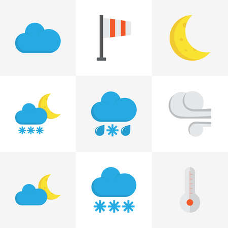 rainbow sky: Weather Flat Icons Set. Collection Of Snow, Crescent, Drizzles And Other Elements. Also Includes Symbols Such As Frosty, Flag, Hot. Illustration