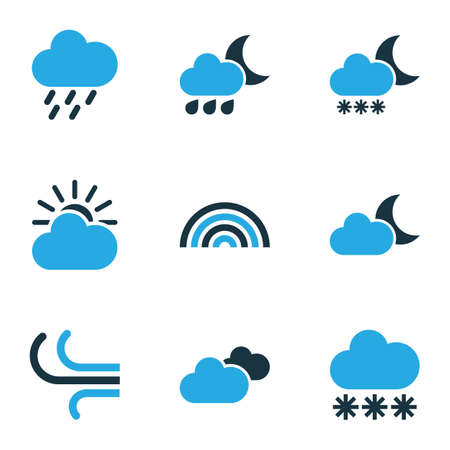 crescent: Nature Colored Icons Set. Collection Of Wind, Arc, Overcast And Other Elements. Also Includes Symbols Such As Sun, Snowfall, Cloudy. Illustration