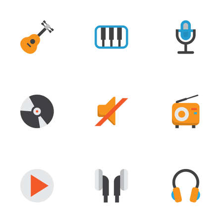 Multimedia Flat Icons Set. Collection Of Karaoke, Broadcasting, Pianoforte And Other Elements. Also Includes Symbols Such As Begin, Button, Quiet. Illustration