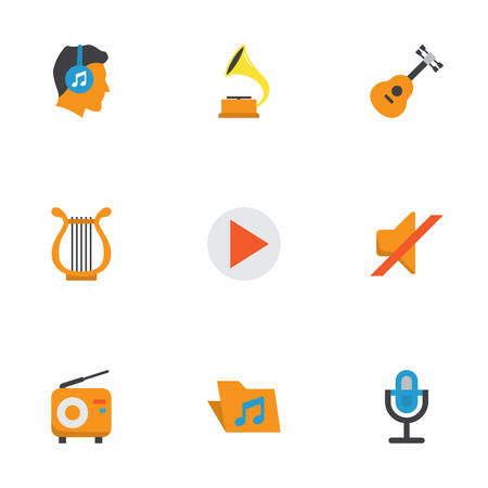 Audio Flat Icons Set. Collection Of Acoustic, Portfolio, Karaoke And Other Elements. Also Includes Symbols Such As Male, Volume, Mic.