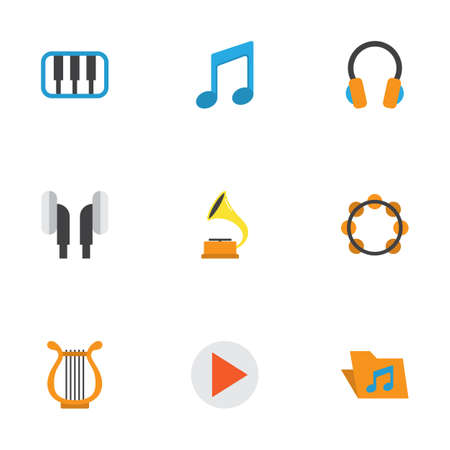 Music Flat Icons Set. Collection Of Earpiece, Sonata, Button And Other Elements. Also Includes Symbols Such As Earmuff, Headphone, Archive.