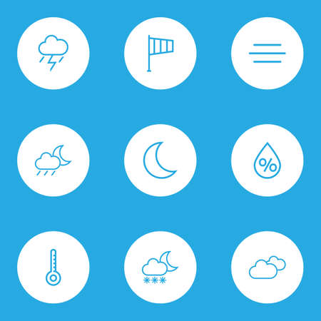 crescent: Climate Outlines Set. Collection Of Windsock, Drop, Rainstorm And Other Elements. Also Includes Symbols Such As Line, Thermostat, Thunderstorm.