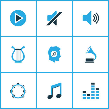 sonata: Audio Colored Icons Set. Collection Of Gramophone, Tambourine, Play And Other Elements. Also Includes Symbols Such As Meloman, Equalizer, Music. Illustration
