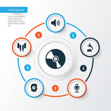 Audio Icons Set. Collection Of Phonograph, Earmuff, Sound And Other Elements. Also Includes Symbols Such As Vinyl, Phonograph, Earmuff. Illustration