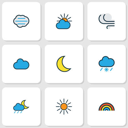 rainbow sky: Weather Colored Outlines Set. Collection Of Clouded, Rainbow, Cloudy Day And Other Elements. Also Includes Symbols Such As Cloud, Sunlight, Moon.