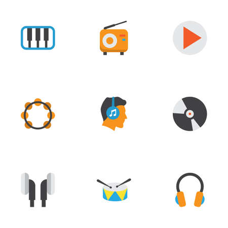Music Flat Icons Set. Collection Of Broadcasting, Ear Muffs, Pianoforte And Other Elements. Also Includes Symbols Such As Percussion, Male, Tambourine. Illustration