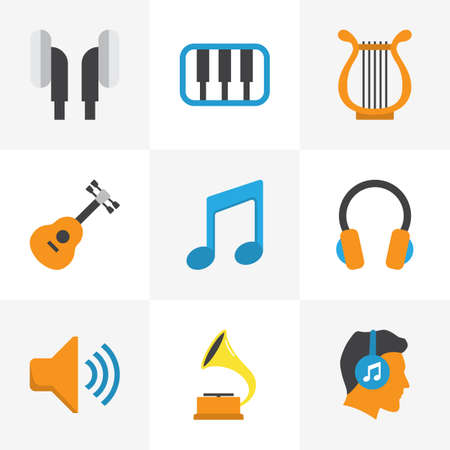 Audio Flat Icons Set. Collection Of Earpiece, Ear Muffs, Audio And Other Elements. Also Includes Symbols Such As Musical, Guitar, Voice. Illustration