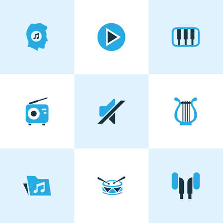 fm: Music Colored Icons Set. Collection Of Music Lover, Harp, Mute And Other Elements. Also Includes Symbols Such As Silent, Start, Piano.
