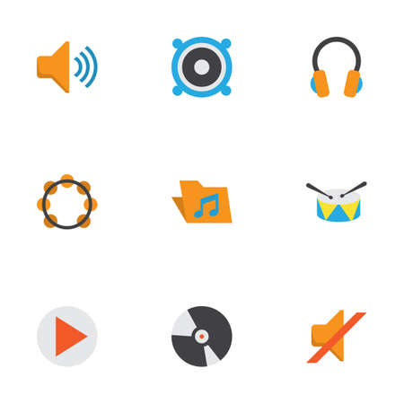 Music Flat Icons Set. Collection Of Rhythm, Quiet, Loudspeaker And Other Elements. Also Includes Symbols Such As Quiet, Dj, Megaphone. Illustration