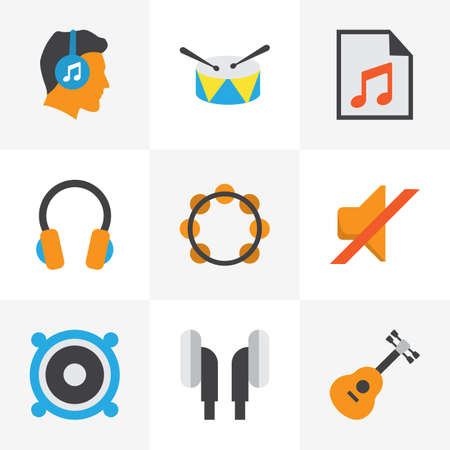 Audio Flat Icons Set. Collection Of Media, Rhythm, Earpiece And Other Elements. Also Includes Symbols Such As Media, Band, List. Illustration