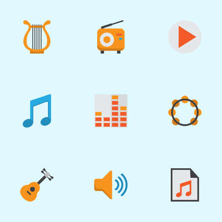 Multimedia Flat Icons Set. Collection Of Media, Acoustic, Sonata And Other Elements. Also Includes Symbols Such As Sonata, Volume, Equalizer.