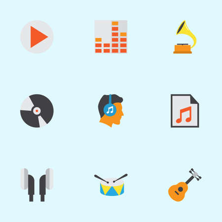 Music Flat Icons Set. Collection Of Button, Controlling, Media And Other Elements. Also Includes Symbols Such As Gramophone, Disk, Drum. Illustration