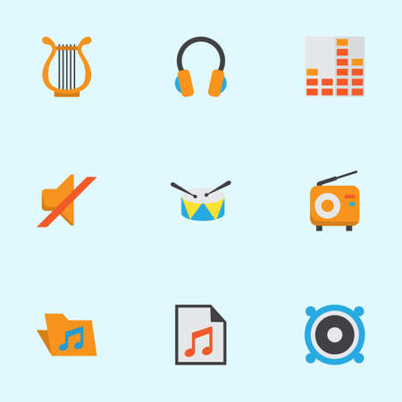 Audio Flat Icons Set. Collection Of Loudspeaker, Broadcasting, Quiet And Other Elements. Also Includes Symbols Such As Volume, Earpiece, Archive.