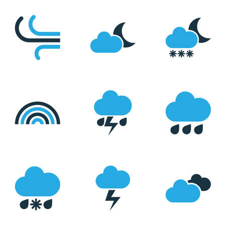 Weather Colored Icons Set. Collection Of Rainfall, Lightning, Cloudy Sky And Other Elements. Also Includes Symbols Such As Rainfall, Blizzard, Bolt. Illustration