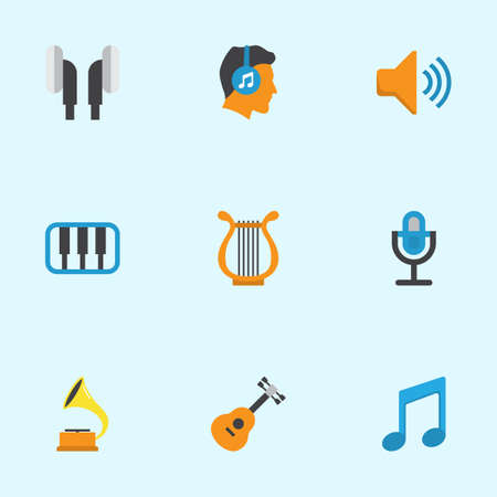 Audio Flat Icons Set. Collection Of Pianoforte, Sonata, Earpiece And Other Elements. Also Includes Symbols Such As Earpiece, Tone, Shellac.