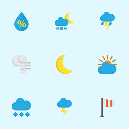 Meteorology Flat Icons Set. Collection Of The Flash, Lightning, Moon And Other Elements. Also Includes Symbols Such As Drop, Winter, Flash. Çizim
