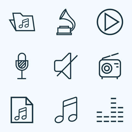 Music Icons Set Collection Of Equalizer Start Timbrel And