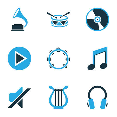 sonata: Multimedia Colored Icons Set. Collection Of Note, Harp, Tambourine And Other Elements. Also Includes Symbols Such As Start, Mute, Timbrel. Illustration