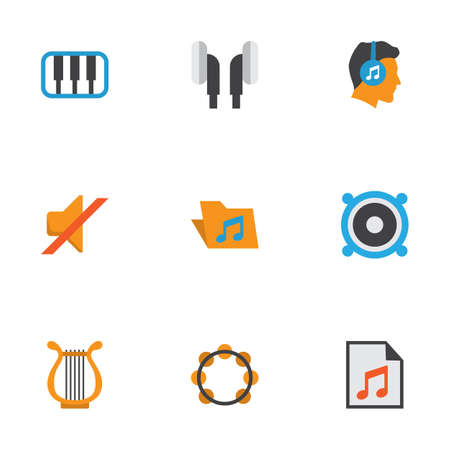 Music Flat Icons Set. Collection Of Portfolio, Earpiece, Male And Other Elements. Also Includes Symbols Such As Philharmonic, List, Music.