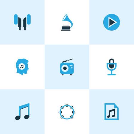 マルチ メディア色アイコン セット。再生、メモ、ヘッドフォンと他の要素のコレクションです。注、蓄音機、タンバリンなどの記号も含まれていま