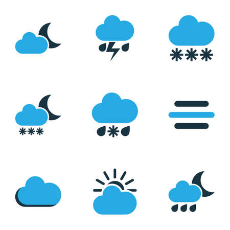 Nature Colored Icons Set. Collection Of Moonshine, Overcast, Breeze And Other Elements. Also Includes Symbols Such As Gust, Wind, Moonshine.