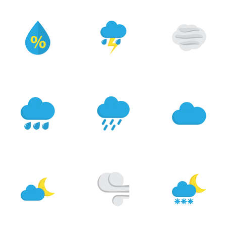Nature Flat Icons Set. Collection Of Drop, Crescent, Shower And Other Elements. Also Includes Symbols Such As Frosty, Cloud, Cloudy. Illustration