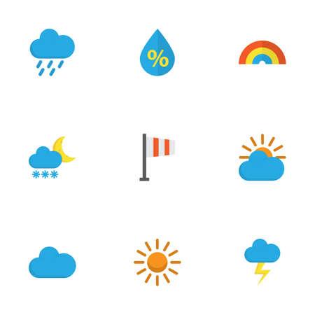 Conjunto de iconos planos del tiempo. Colección de Frosty, Sunny, ducha y otros elementos. También incluye símbolos como escarcha, lluvia, Banner.