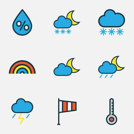 Meteorology Colored Outlines Set. Collection Of Scale, Raindrop, Rainbow And Other Elements. Also Includes Symbols Such As Flag, Snowing, Thermometer.