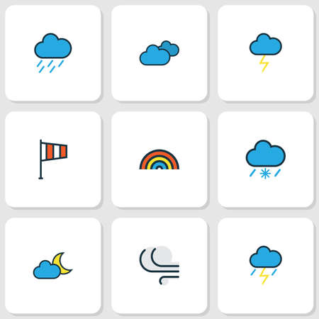 windsock: Weather Colored Outlines Set. Collection Of Rainbow, Hazy, Windy And Other Elements. Also Includes Symbols Such As Storm, Cloudburst, Hazy.