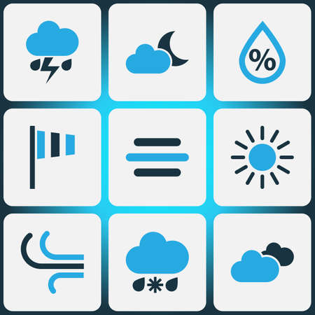 Weather Colored Icons Set. Collection Of Cloudy Sky, Sunny, Wind Speed And Other Elements. Also Includes Symbols Such As Sunny, Cloud, Rain.