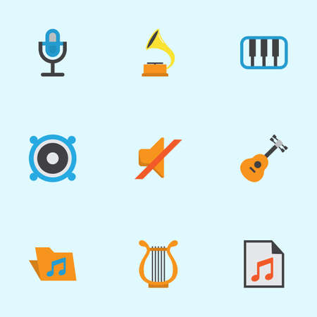 Multimedia Flat Icons Set. Collection Of Shellac, Acoustic, Sonata And Other Elements. Also Includes Symbols Such As Shellac, Mic, Music. Illustration