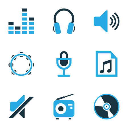 Multimedia Colored Icons Set. Collection Of Headset, Playlist, Tambourine And Other Elements. Also Includes Symbols Such As Note, Mike, Silent.