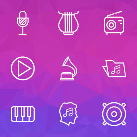 media gadget: Music Outlines Set. Collection Of Cover, Circle, Keys And Other Elements. Also Includes Symbols Such As Sounds, Phonograph, Gramophone.