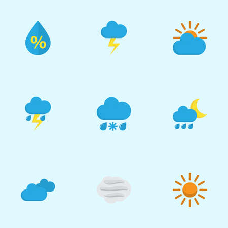 overcast: Meteorology Flat Icons Set. Collection Of Sunny, Overcast, The Flash And Other Elements. Also Includes Symbols Such As Flash, Sky, Hot. Illustration