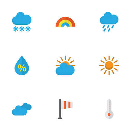 rainbow sky: Climate Flat Icons Set. Collection Of Shower, Snow, Overcast And Other Elements. Also Includes Symbols Such As Temperature, Banner, Sky. Illustration