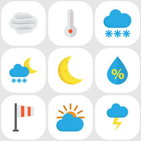 Meteorology Flat Icons Set. Collection Of Moon, Snow, Temperature And Other Elements. Also Includes Symbols Such As Moon, Storm, Frost.