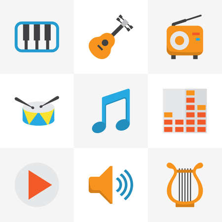 Music Flat Icons Set. Collection Of Acoustic, Broadcasting, Tone And Other Elements. Also Includes Symbols Such As Voice, Audio, Band.
