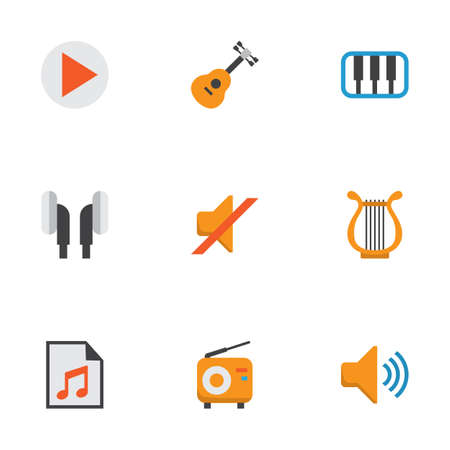 Audio Flat Icons Set. Collection Of Pianoforte, Button, Sonata And Other Elements. Also Includes Symbols Such As Piano, Earpiece, Play.