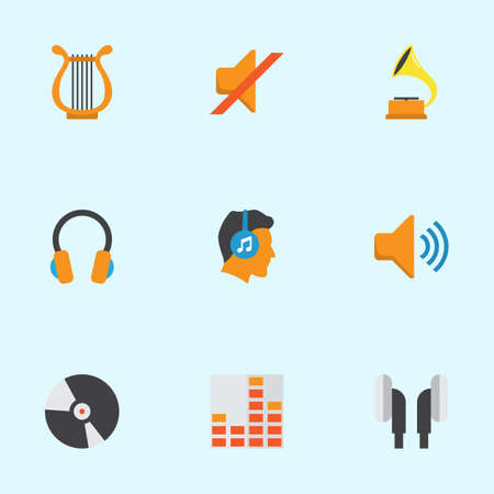 Audio Flat Icons Set. Collection Of Controlling, Ear Muffs, Male And Other Elements. Also Includes Symbols Such As Male, Quiet, Disk.
