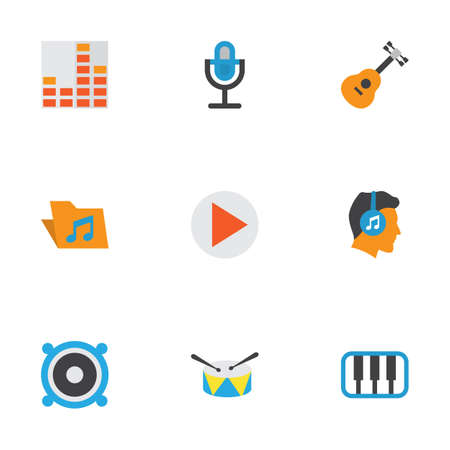 Music Flat Icons Set. Collection Of Portfolio, Male, Acoustic And Other Elements. Also Includes Symbols Such As Portfolio, Guitar, Frequency.