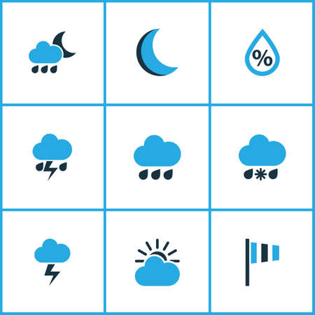 crescent: Nature Colored Icons Set. Collection Of Cold Weather, Drizzle, Humidity And Other Elements. Also Includes Symbols Such As Lightning, Drop, Night.